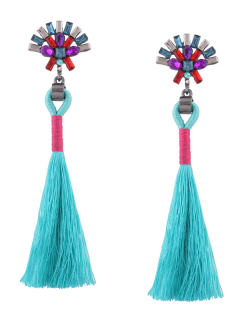 Statement Rhinestone Geometric Tassel Earrings - Blue