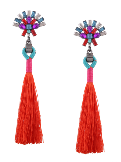 Statement Rhinestone Geometric Tassel Earrings - Red