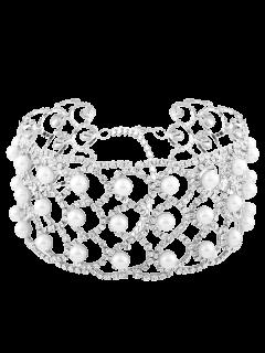 Collar De Aleación De Perlas De Imitación Rhinestoned - Plata