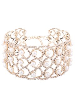 Rhinestoned Faux Pearl Alloy Necklace - Golden