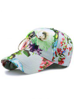 Wash Painting Flowers Printed Metal Circle Hat - Blue Green