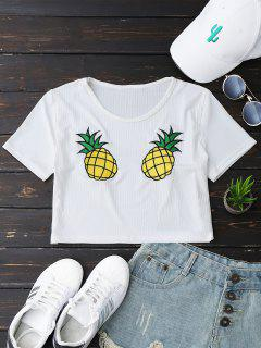 Pineapple Embroidered Cropped Top - White S