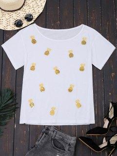 Camiseta De Los Cequis De La Piña Del Algodón - Blanco L