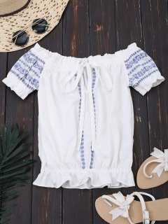 Embroidered Cropped Off Shoulder Top - White L