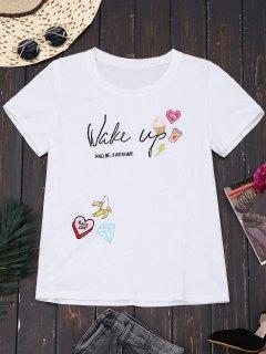 T-shirt Mignon Brodé En Coton - Blanc S