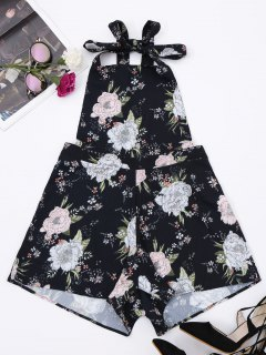 Backless Floral Pinafore Romper - Floral M