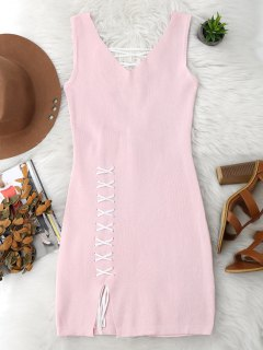 Lace Up Cut Hem Bodycon Knit Dress - Pink