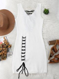 Vestido Ceñido De Tejido Con Cordón Combinado En Faldas - Blanco