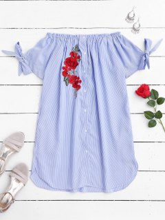 Floral Patched Off Shoulder Casual Dress - Stripe S