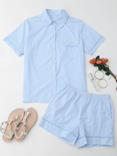 Striped Pocket Shirt With Shorts Loungewear - Stripe M