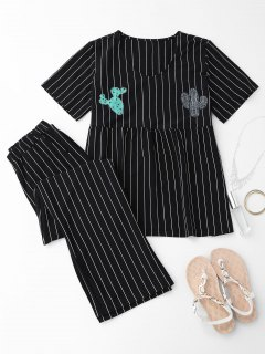 Cactus Striped Top With Pants Loungewear - Black Xl