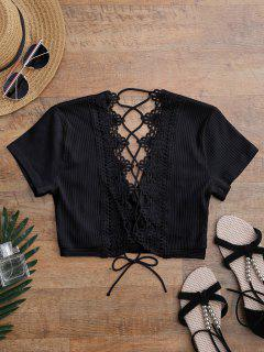 Crochet Panel Plunge Lace Up Cropped Cover Up - Black M