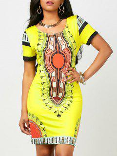Dashiki Print Short Bodycon Dress (Random Print) - Yellow Xl