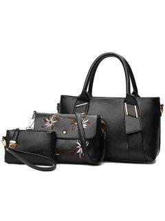 Pebble Faux Leather Handbag Set - Black