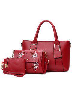 Pebble Faux Leather Handbag Set - Red
