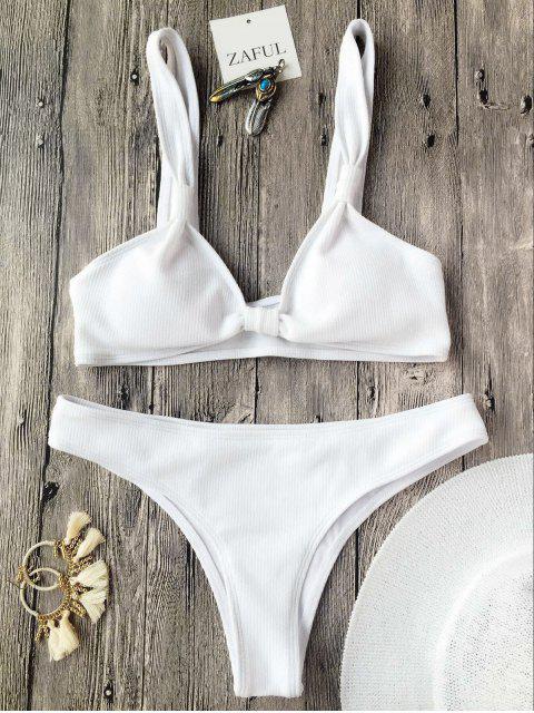 Traje de Bikini Texturizado Acanalado con Cuello en U sin Aros - Blanco S Mobile