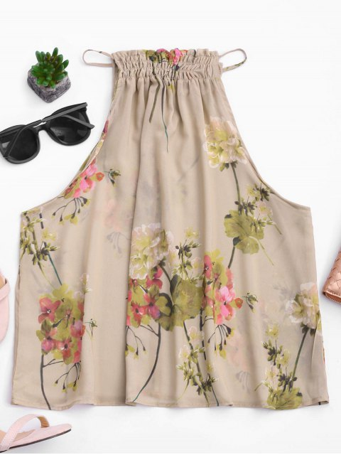 affordable Floral Ruffles Chiffon Tank Top - FLORAL L Mobile