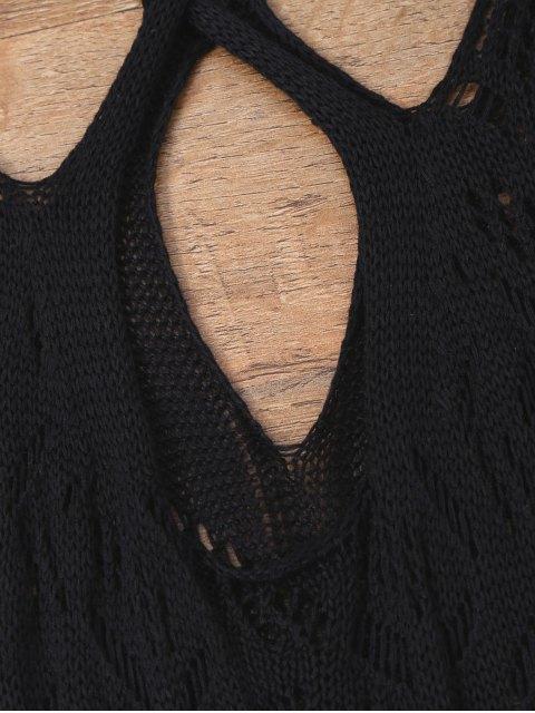 women Open Knit Cross Back Cover Up Dress - BLACK XL Mobile