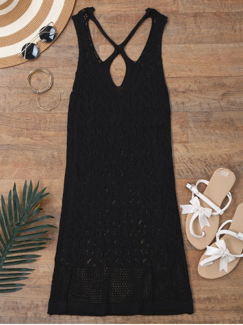 ladies Open Knit Cross Back Cover Up Dress - BLACK M Mobile