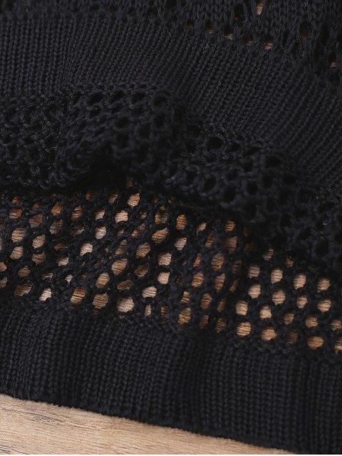 lady Open Knit Cross Back Cover Up Dress - BLACK S Mobile
