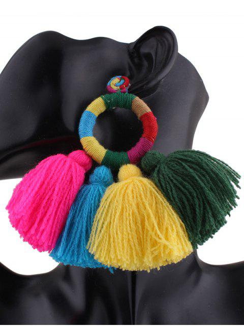 Boucles d'oreilles ethniques avec cercle et frange - Multicouleur  Mobile