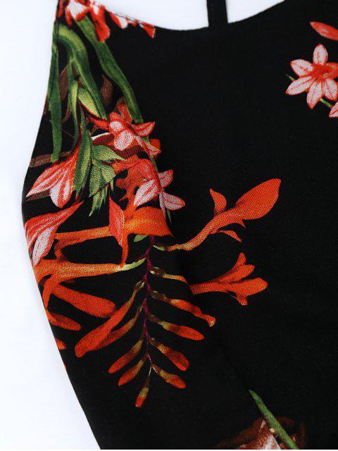 Robe bohémienne florale fendue dos nu - Noir L Mobile