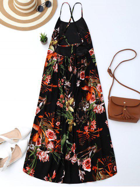 Robe bohémienne florale fendue dos nu - Noir XL Mobile