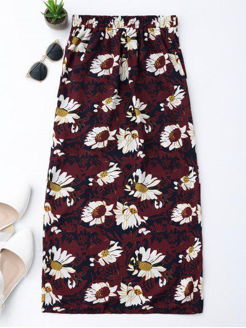 women Floral Tie Side Slit Skirt - WINE RED L Mobile