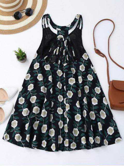 new Floral Sleeveless Strappy Back Trapeze Dress - FLORAL M Mobile