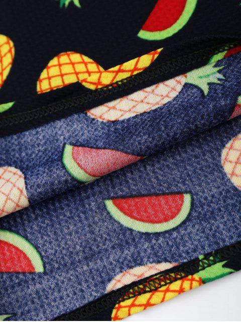 shops Pineapple Print Short Sleeve Tunic Dress - COLORMIX 2XL Mobile