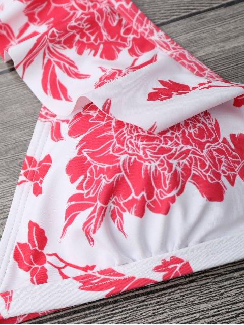 Ensemble de bikini à motif floral et à bretelles - Rouge et Blanc S Mobile