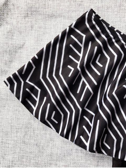 Maillot de bain une-pièce épaules dénudées à volants - Noir S Mobile