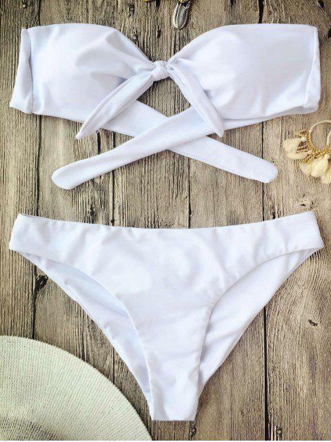 Juego de bikini anudado de banderas anudadas - Blanco S Mobile