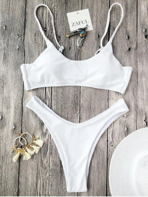 Ensemble de bikini à bretelle spaghettis paddé - Blanc S Mobile