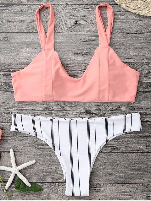 Traje de Bikini sin Aros a Rayas con Relleno - Naranja Rosa L Mobile