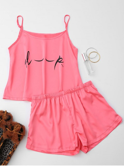 outfits Cute Satin Printed Cami Loungewear Suit - PINK L Mobile