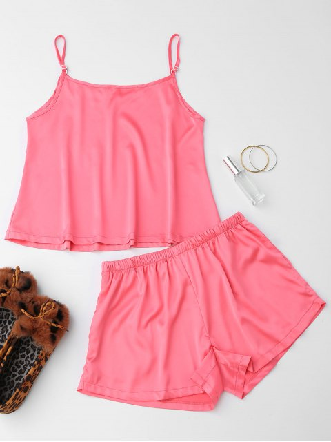 fancy Cute Satin Printed Cami Loungewear Suit - PINK M Mobile