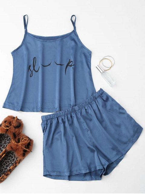 Cute Satin Impreso Cami Loungewear Traje - Azul XL Mobile