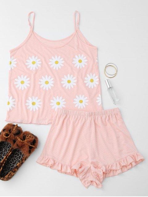 Vêtement de nuit à motif de tournesol à bretelle avec falbalas - Rose Clair S Mobile
