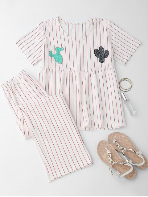 shop Cactus Striped Top with Pants Loungewear - WHITE M Mobile