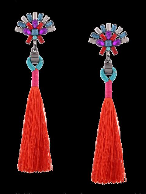 Énoncé Rhinestone Geometric Tassel Earrings - Rouge  Mobile