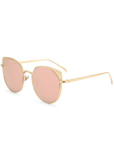 outfit Metal Cat Eye Reflective Mirrored Sunglasses - GLOD FRAME + PINK LENS  Mobile