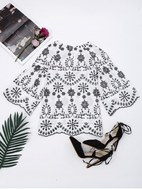 latest Flare Sleeve Embroidered Cut Out Blouse - WHITE S Mobile