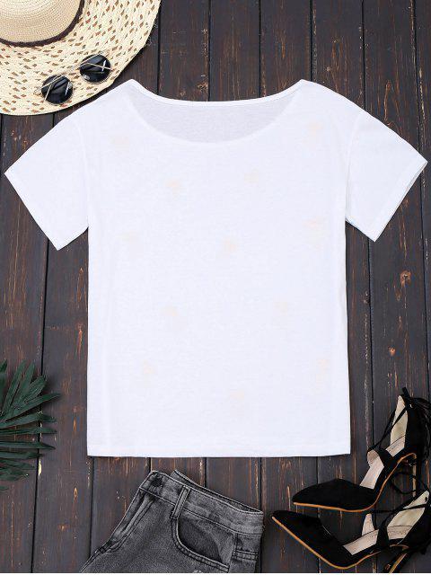 women's Cotton Pineapple Sequins T-Shirt - WHITE L Mobile