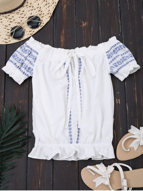 outfit Embroidered Cropped Off Shoulder Top - WHITE S Mobile