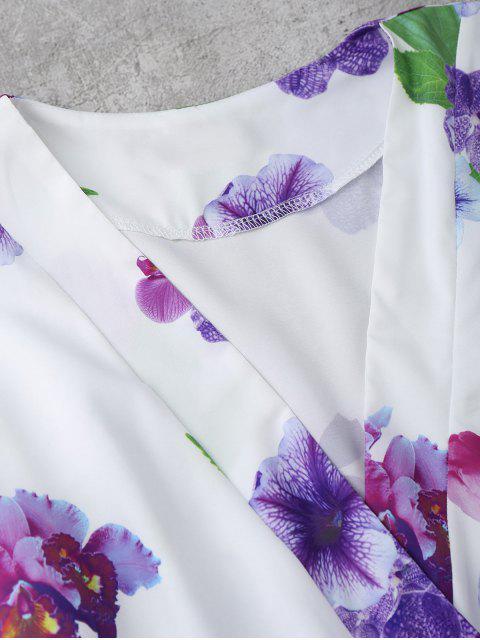 chic Floral Surplice Romper - WHITE XL Mobile