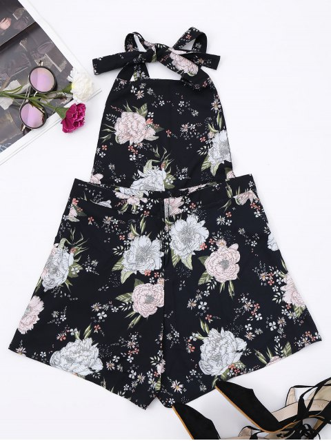 women Backless Floral Pinafore Romper - FLORAL S Mobile
