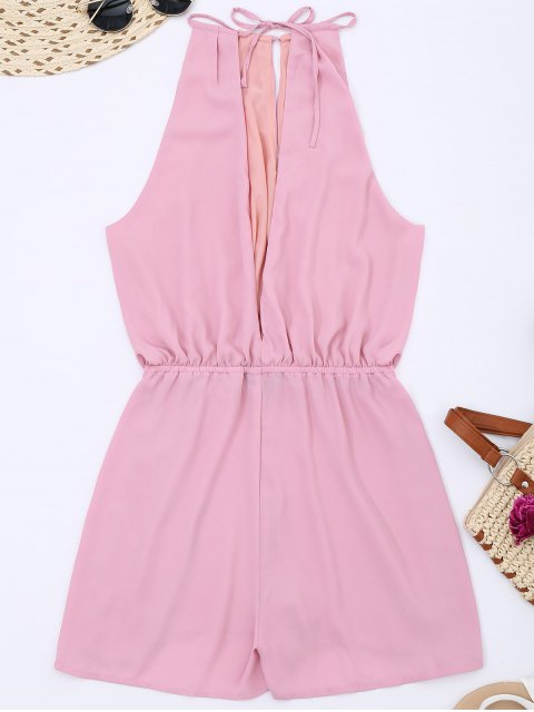 lady Keyhole High Neck Cut Out Romper - PINK L Mobile