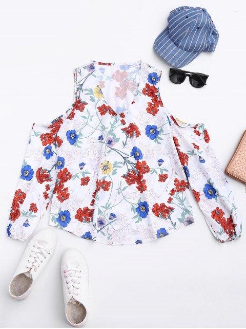 fancy Floral Cold Shoulder Top - FLORAL S Mobile