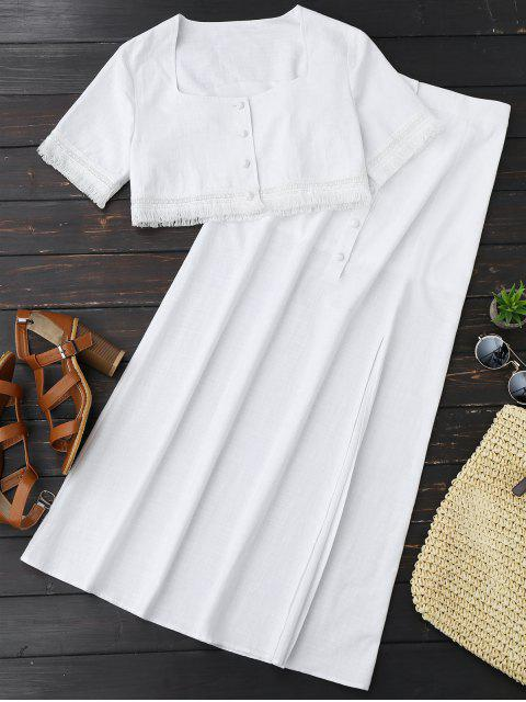 sale Fringed Crop Top and Maxi Slit Skirt - WHITE S Mobile